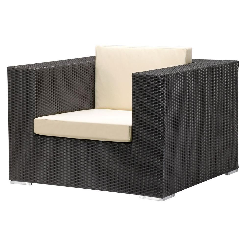 ZUO Cartagena Espresso Weave Patio Armchair with Beige Cushion
