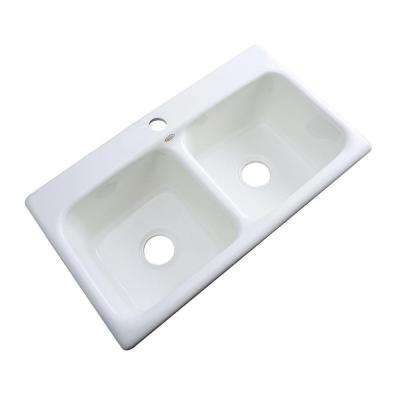 Brighton Drop-in Acrylic 33x19x9 in. 1-Hole Double Bowl Kitchen Sink in White