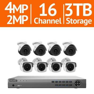 16-Channel Full HD IP 3TB NVR Security System (4) 4MP Bullet Cameras, (4) 2MP 1080p Bullet Cameras with Remote View