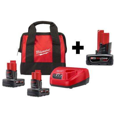 M12 12-Volt Lithium-Ion XC Extended Capacity 6.0Ah Battery Pack W/ Two 4.0 Ah Batteries, Charger & Tool Bag