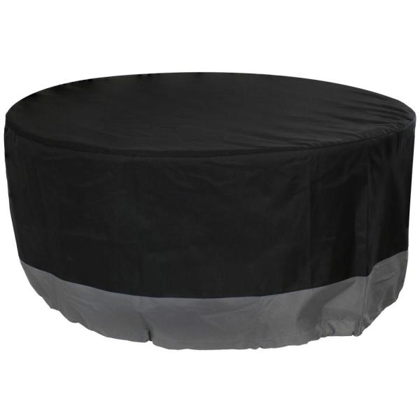 40 in. Gray/Black Round 2-Tone Outdoor Fire Pit Cover