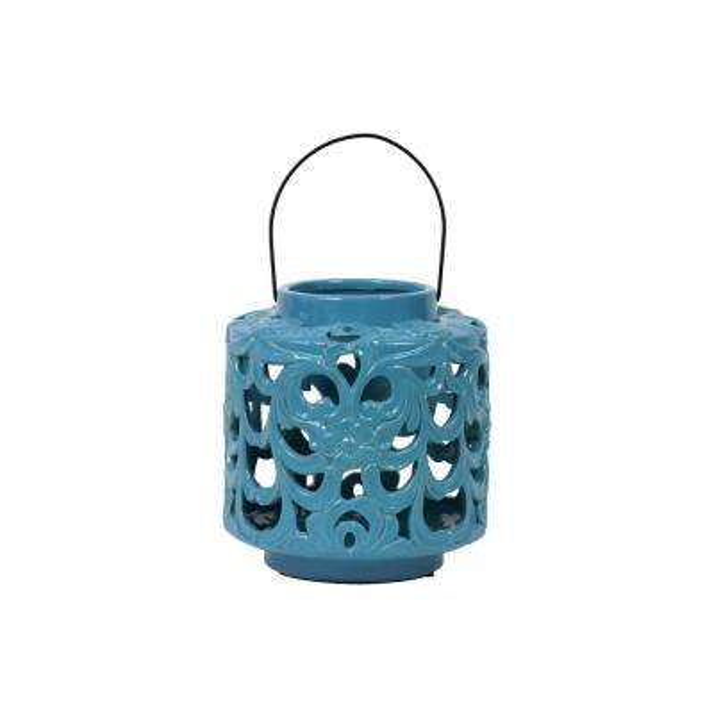 Blue Candle Ceramic Decorative Lantern