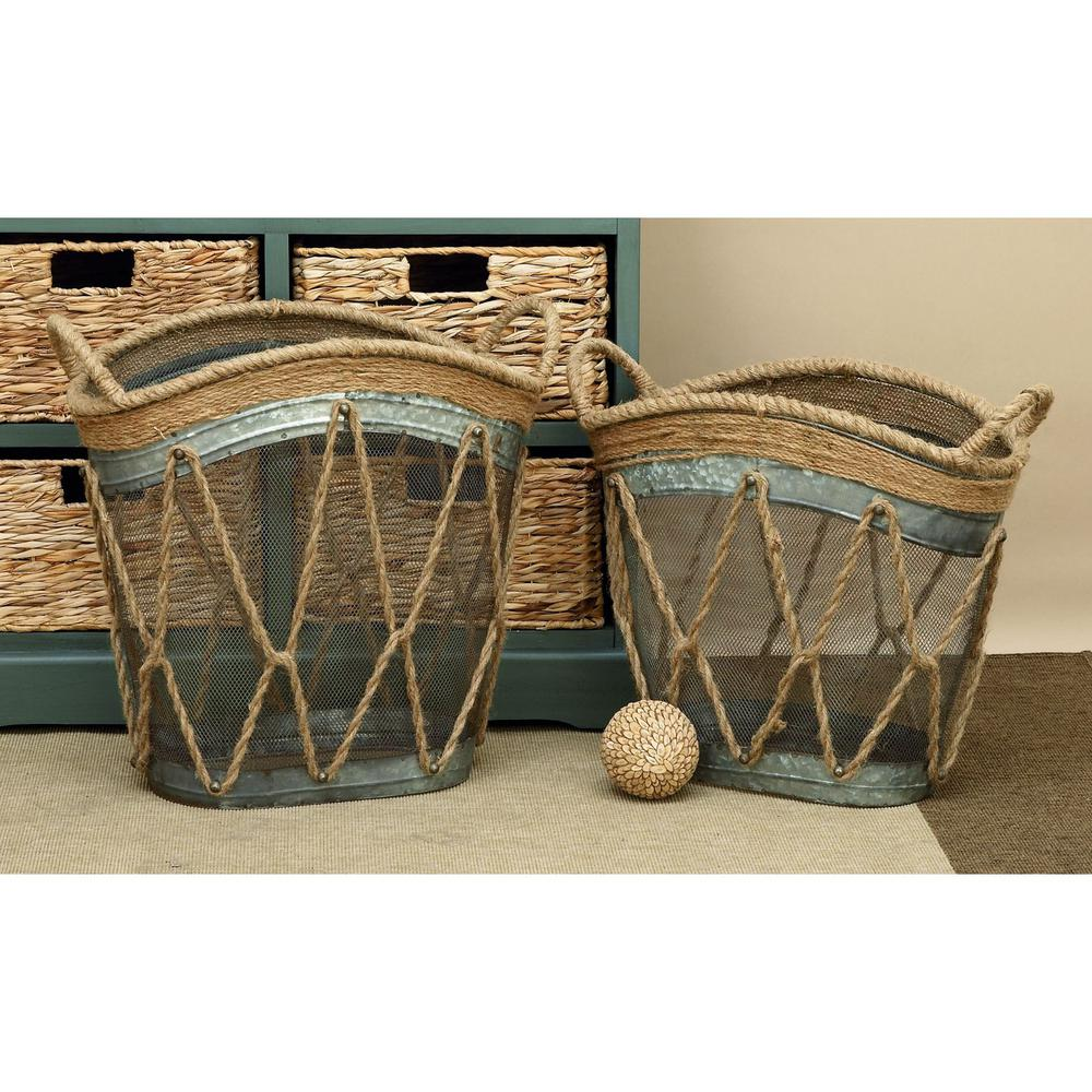 Burlap Utility Baskets (Set of 2)