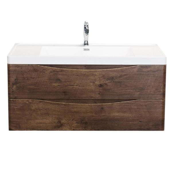 Smile 48 in. W x 19 in. D x 21.5 in. H Vanity in White with Acrylic Vanity Top in Rosewood with White Basin