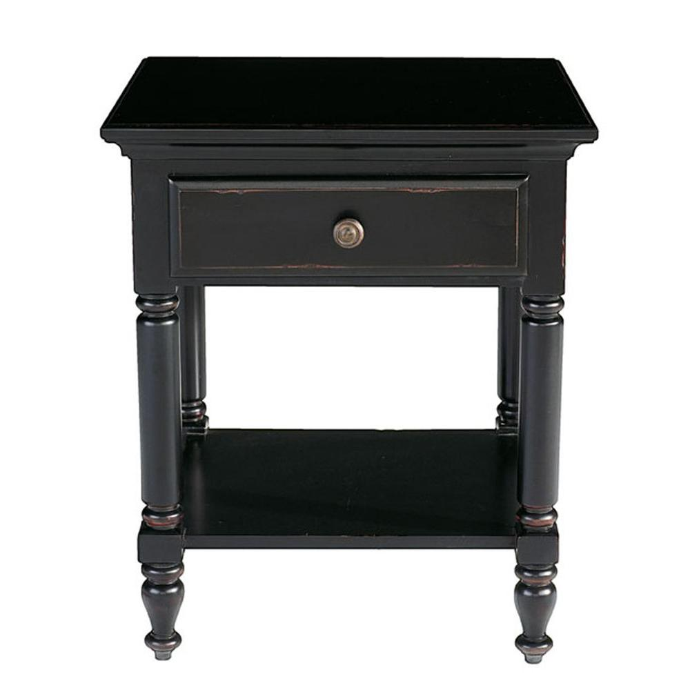Renovations by Thomasville 1-Drawer Engineered Wood Side Table/Nightstand in Vintage Ebony