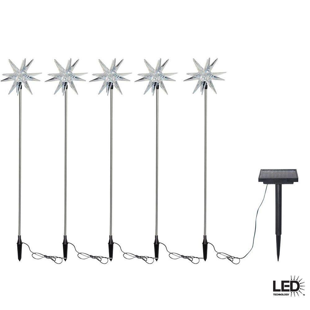 Hampton Bay Solar-Powered LED Starburst Nickel Stake Lights (5-Pack)