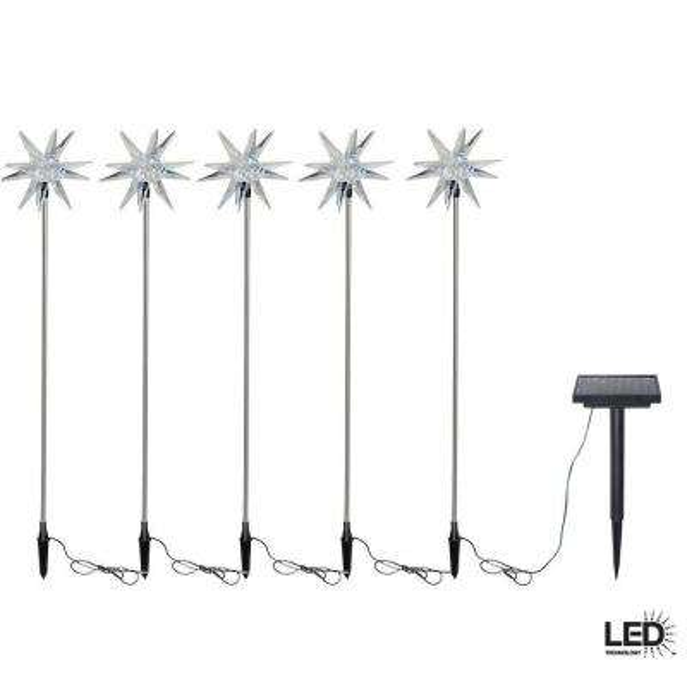 Solar-Powered LED Starburst Nickel Stake Lights (5-Pack)