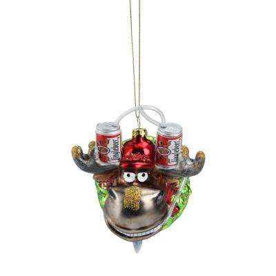 4.5 in. Moose in Wreath with Beer Drinking Helmet Glass Christmas Ornament