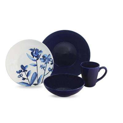 Lapis Fields 16-Piece Blue and White Dinnerware Set