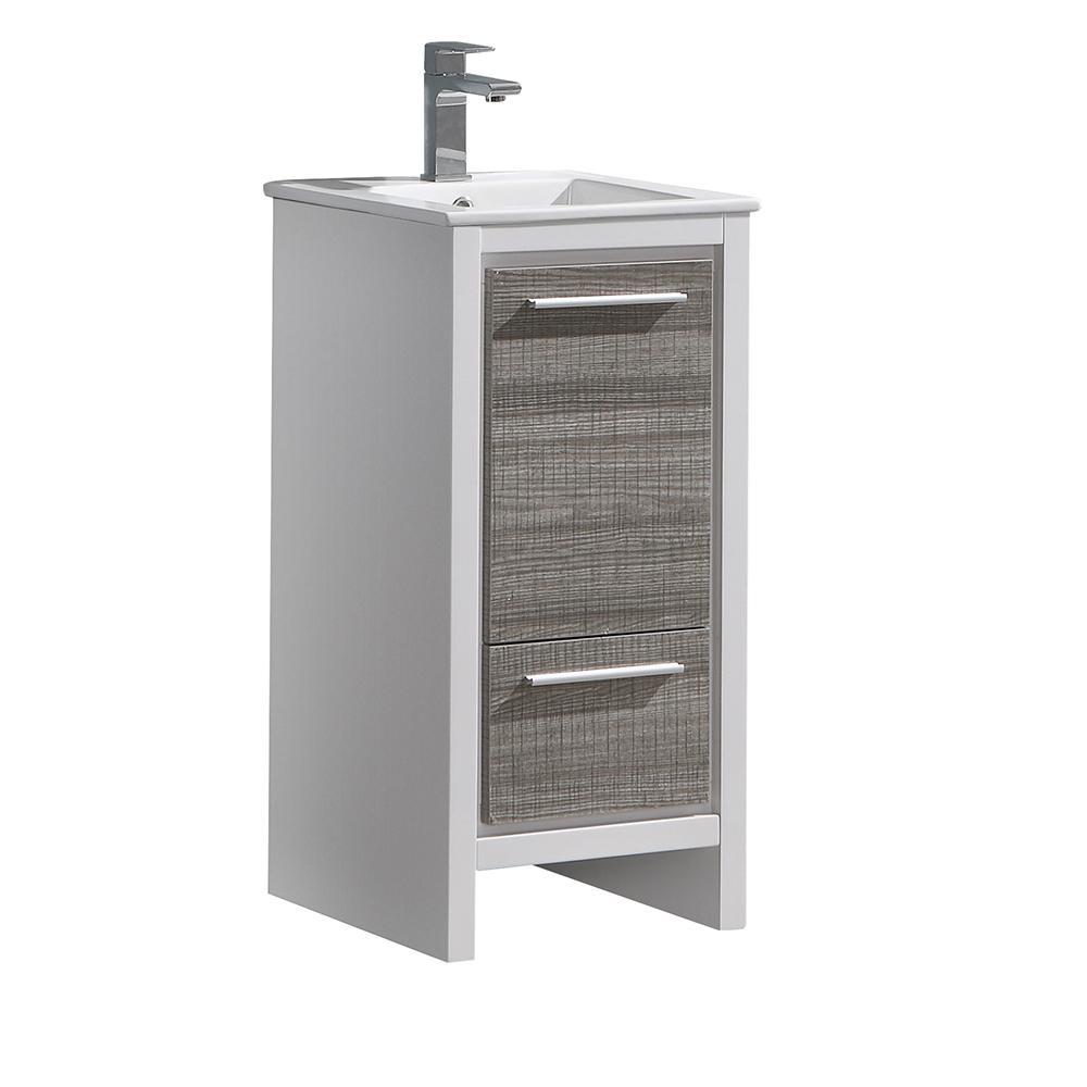 Fresca Allier Rio 16 in. Modern Bathroom Vanity in Ash Gray with Ceramic Vanity Top in White