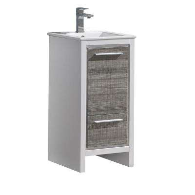 Allier Rio 16 in. Modern Bathroom Vanity in Ash Gray with Ceramic Vanity Top in White
