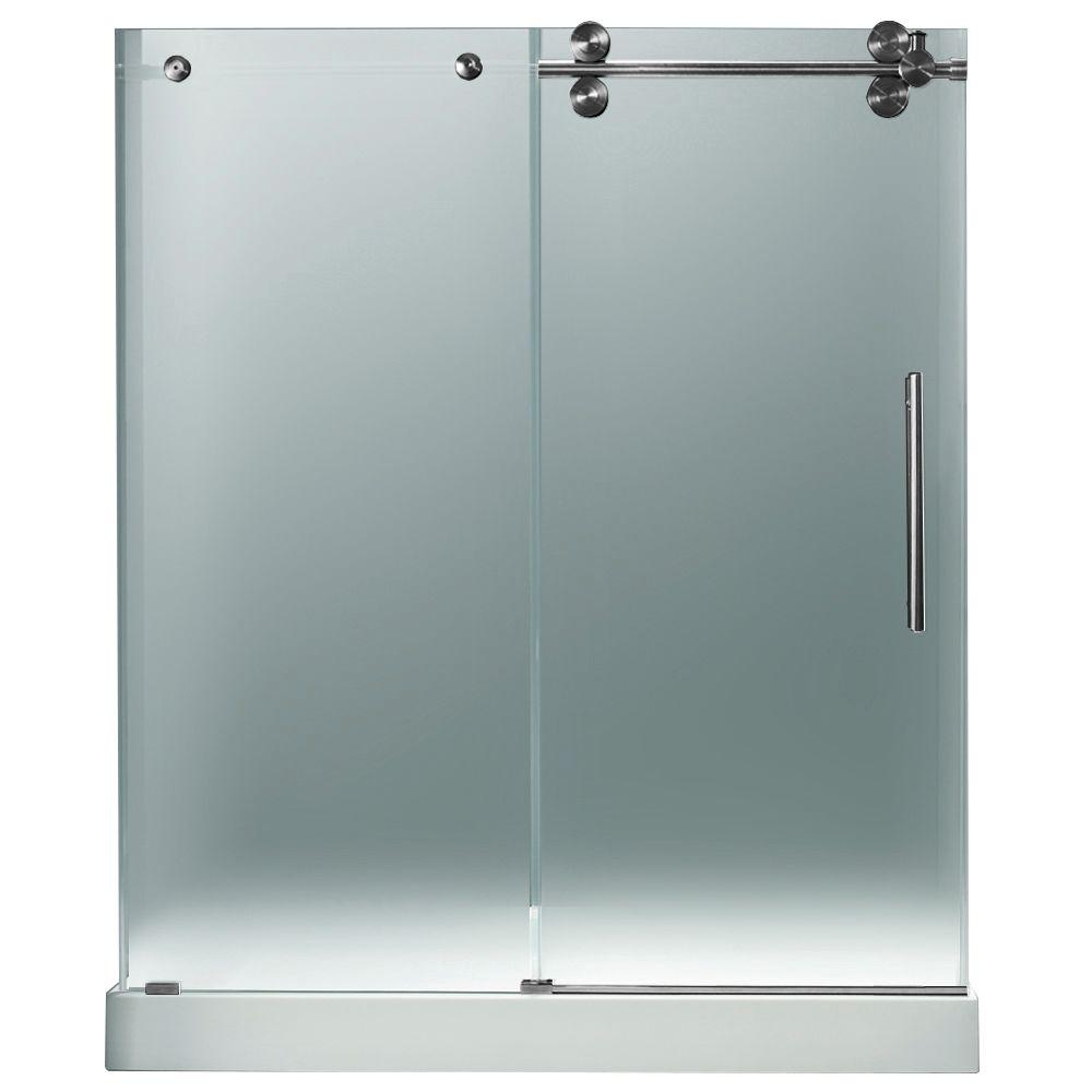 Vigo 59.75 in. x 74 in. Frameless Pivot Shower Door in Stainless Steel and Frosted Glass with White Base with Center Drain