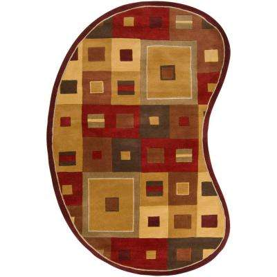 Michael Burgundy 8 ft. x 10 ft. Kidney Area Rug