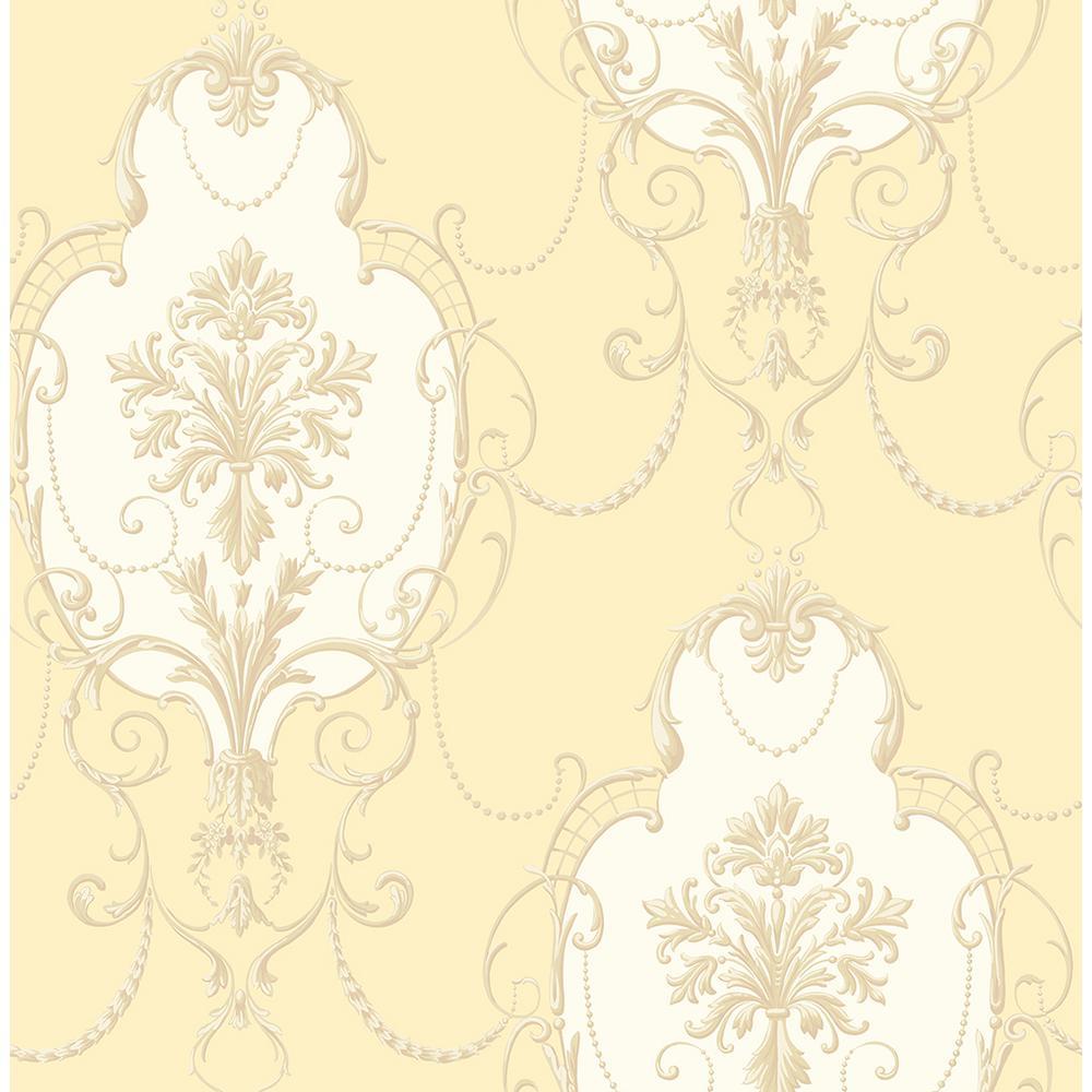 8 in. x 10 in. Lucinda Yellow Cameo Wallpaper Sample-2900-23252SAM ...