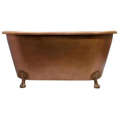 Panya 68.75 in. Copper Double Roll Top Clawfoot Non-Whirlpool Bathtub in Antique Copper