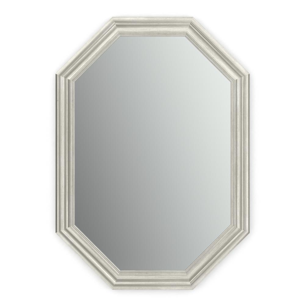 33 in. W x 46 in. H (L3) Framed Octagon Standard Glass Bathroom Vanity Mirror in Vintage Nickel