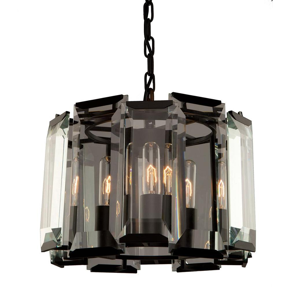 3-Light Matt Black Pendant