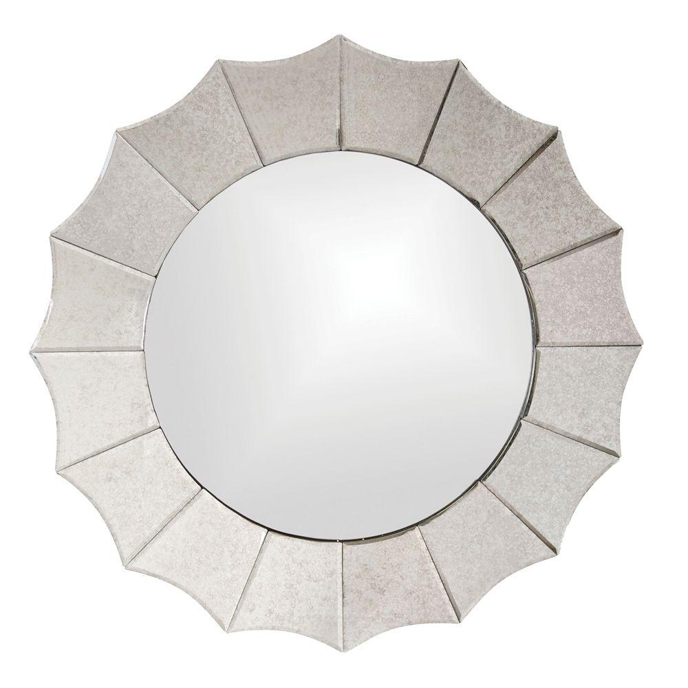 null 32 in. x 32 in. Antique Scalloped Framed Mirror
