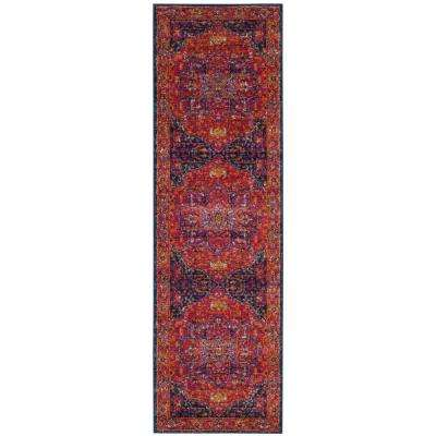 Evoke Fuchsia/Orange 2 ft. x 19 ft. Runner Rug
