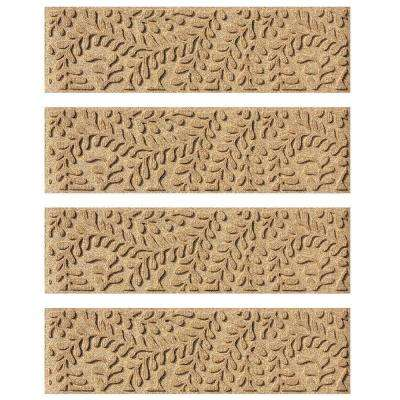Khaki 8.5 in. x 30 in. Boxwood Stair Tread Cover (Set of 4)