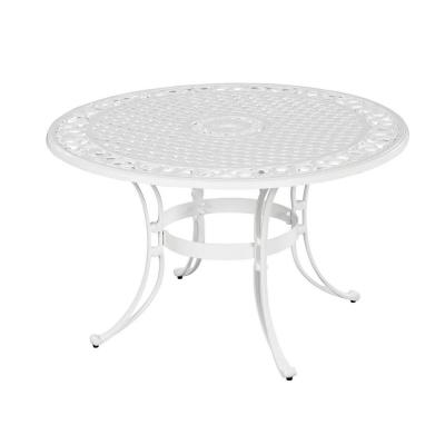 Sanibel White 48 in. Round Cast Aluminum Outdoor Dining Table
