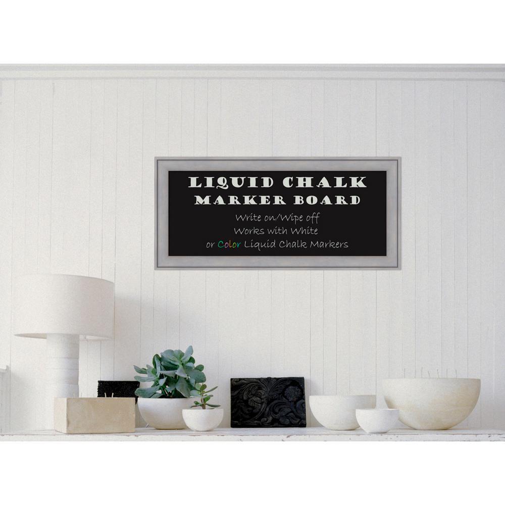 Amanti Art Graywash Wood 33 inch W x 15 inch H Framed Liquid Chalk Marker Board by Amanti Art
