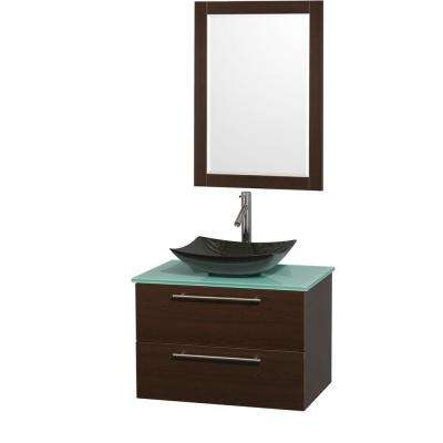 Amare 30 in. Vanity in Espresso with Glass Vanity Top in Green, Granite Sink and 24 in. Mirror