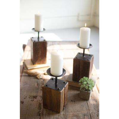 Brown Recycled Wood Candle Holders (Set of 3)