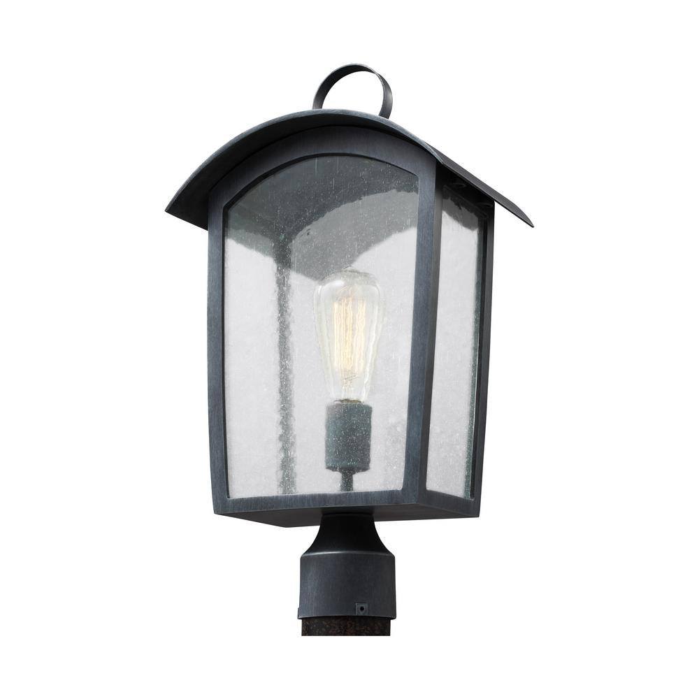 Feiss Hodges Collection 1-Light Ash Black Outdoor Post Light