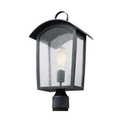 Hodges Collection 1-Light Ash Black Outdoor Post Light