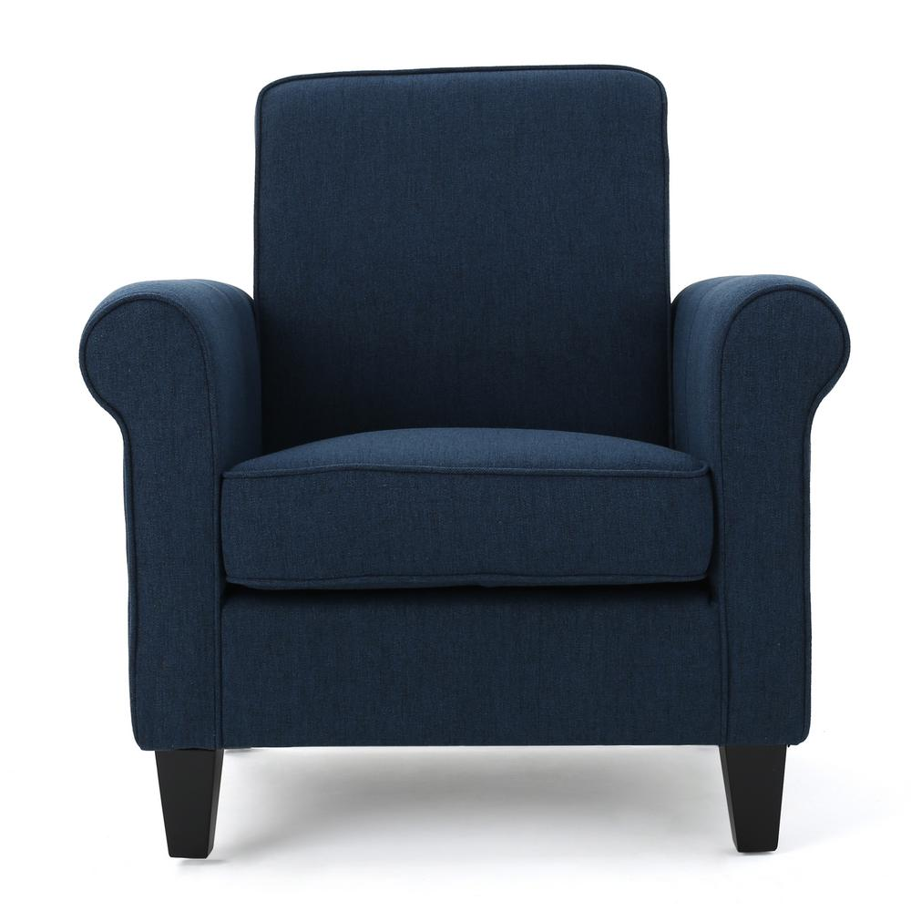 Noble House Freemont Dark Blue Fabric Club Chair 299865 The Home Depot