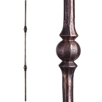 Tuscan Round Hammered 44 in. x 0.5625 in. Oil Rubbed Bronze Double Sphere Solid Wrought Iron Baluster