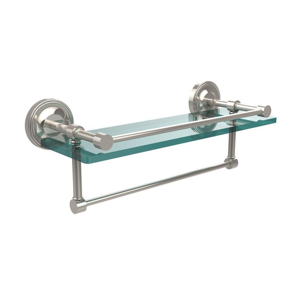 16 in. L  x 5 in. H  x 5 in. W Gallery Clear Glass Bathroom Shelf with Towel Bar in Polished Nickel