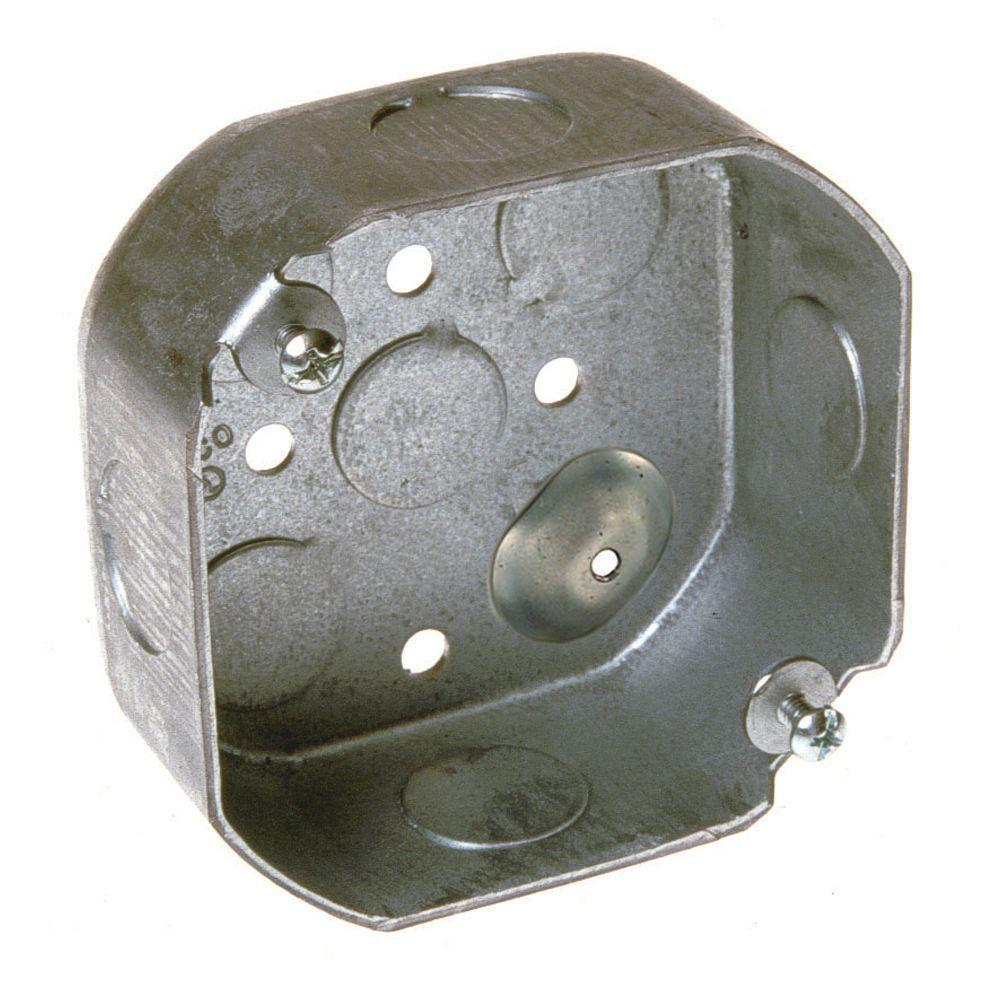 RACO 4 in. Drawn Octagon Electrical Box with Raised Ground