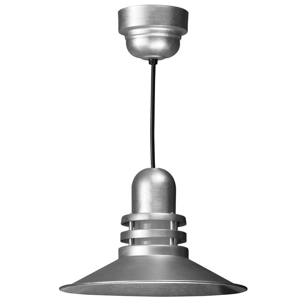 Illumine 1-Light Galvanized Orbitor Shade Pendant with Frosted Glass