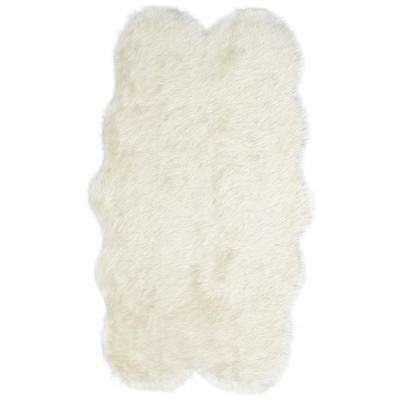 Royale Quatro Ivory Acrylic Faux Fur 3 ft. 2 in. x 5 ft. 9 in. Area Rug