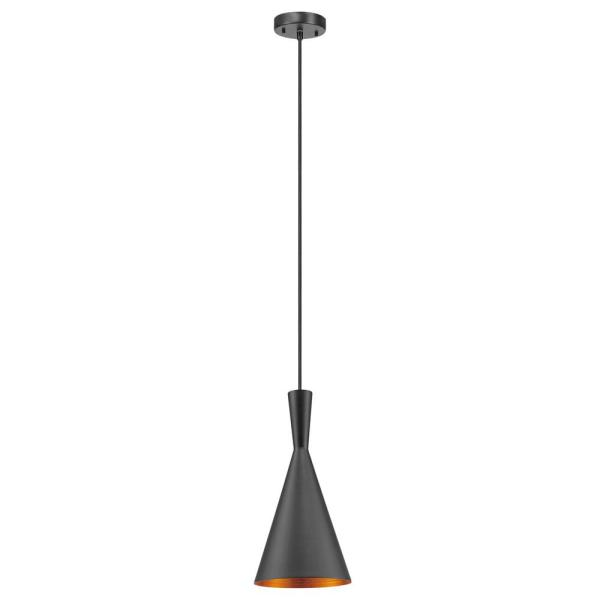 Mira 1-Light 63 in. Matte Black and Gold Hourglass Pendant