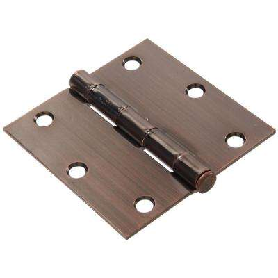 3-1/2 in. Antique Bronze Residential Door Hinge with Square Corner Removable Pin Full Mortise (9-Pack)