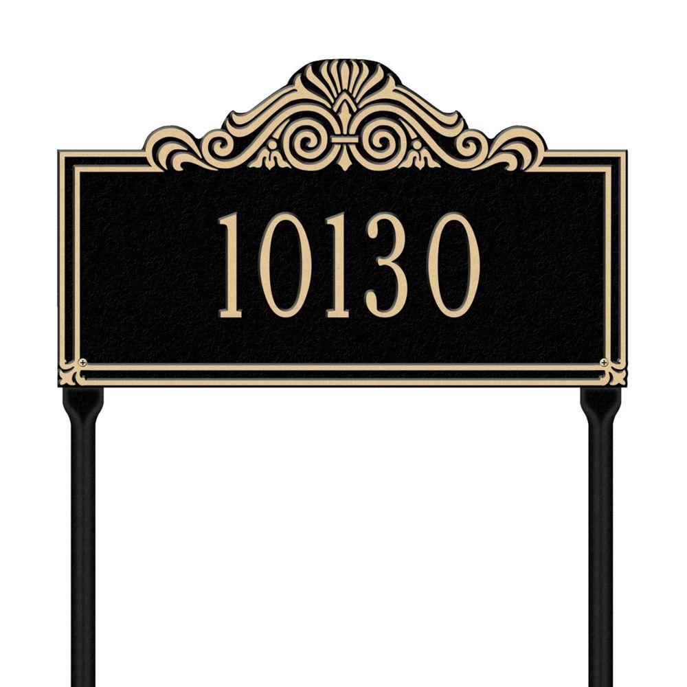 Villa Nova Rectangular Black/Gold Standard Lawn One Line Address Plaque