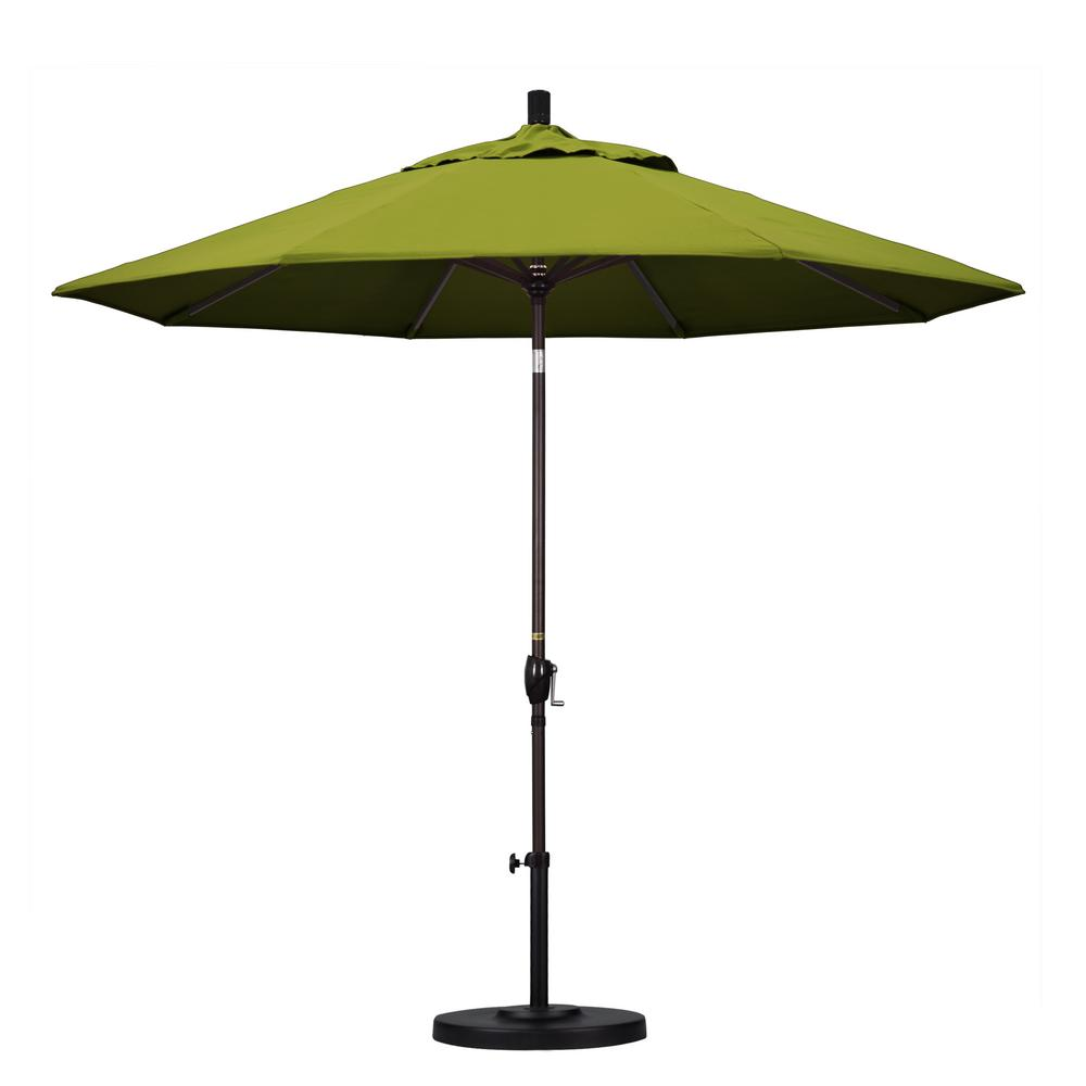9 ft. Aluminum Push Tilt Patio Umbrella in Kiwi Olefin