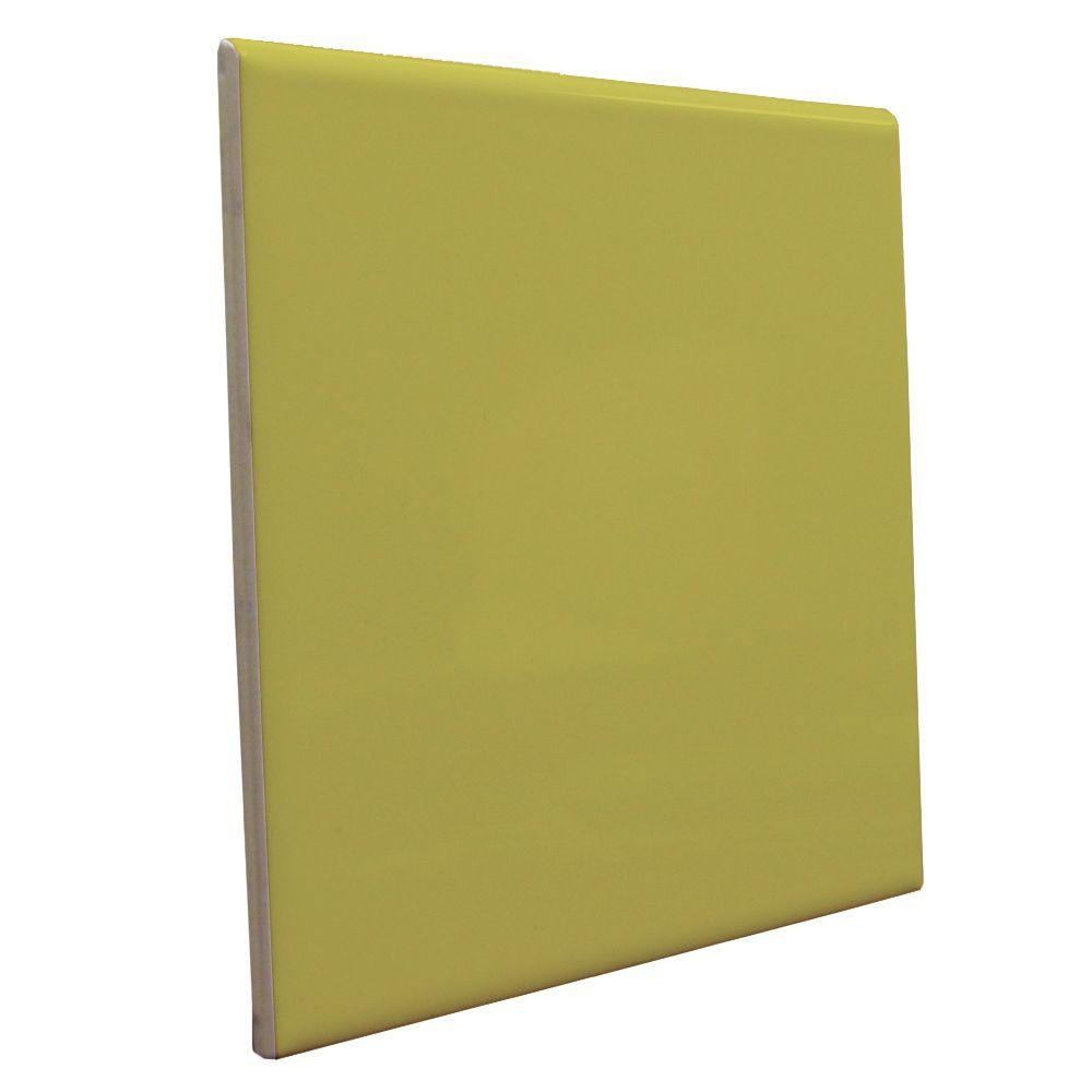 U.S. Ceramic Tile Bright Chartreuse 6 in. x 6 in. Ceramic Surface Bullnose Wall Tile-DISCONTINUED