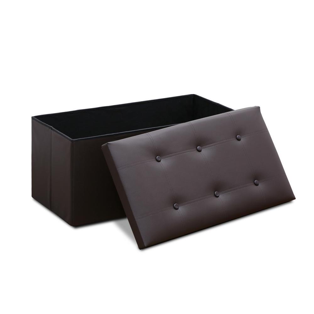 Modern Espresso Foldable Storage Rectangular Bench
