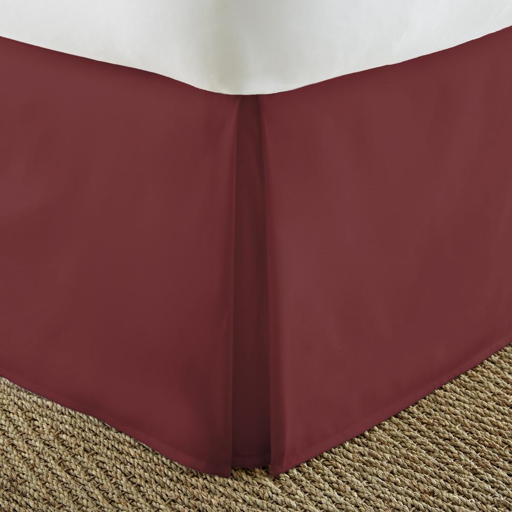 Pleated Dust Ruffle Burgundy Twin Performance Bed Skirt