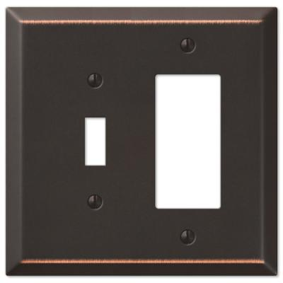 Oversized 2 Gang 1-Toggle and 1-Rocker Steel Wall Plate - Aged Bronze