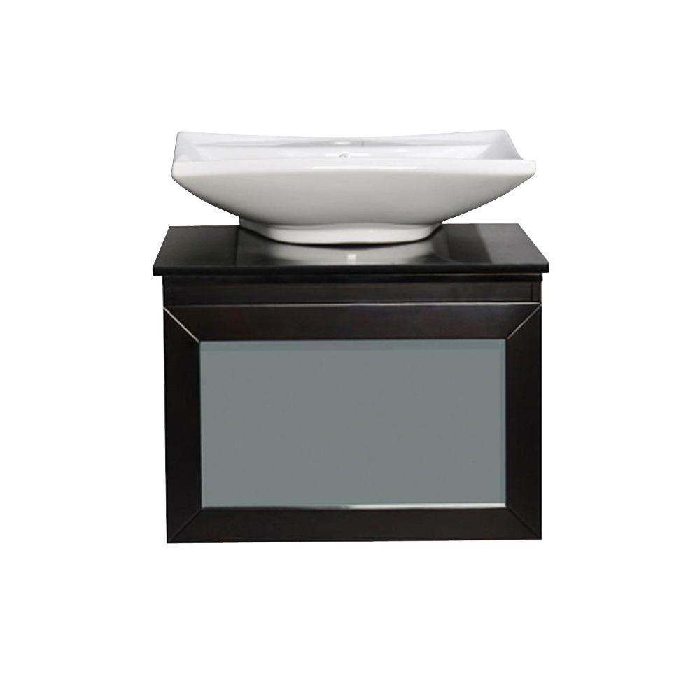 Newport 31 in. W x 22 in. D Vanity in Espresso with Granite Vanity Top in Absolute Black and White Vessel Basin