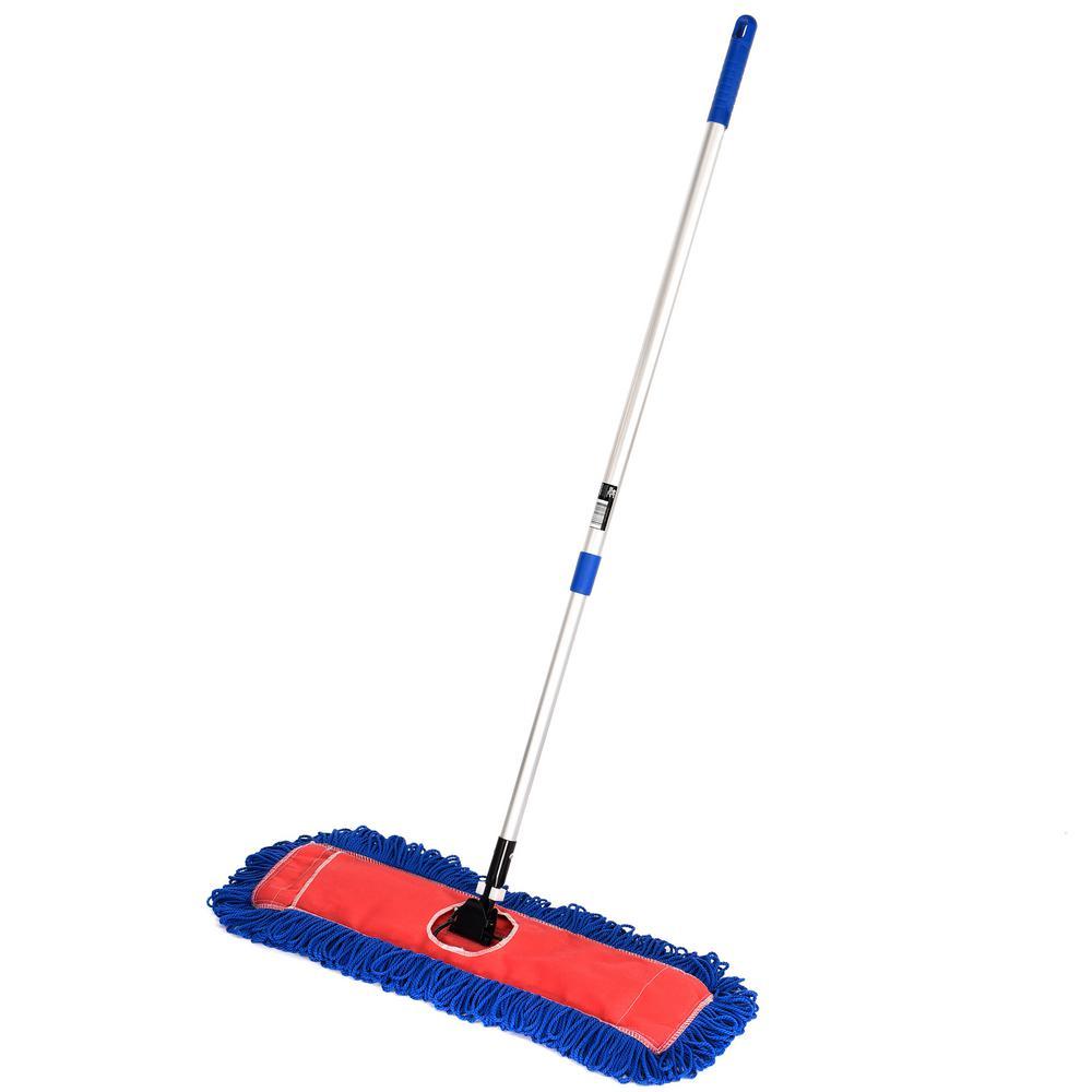 24 in. Microfiber Wet Dry Dust Mop Set with Telescopic Handle