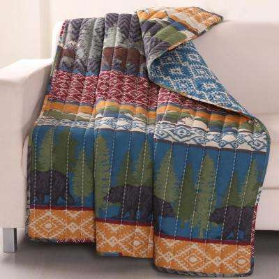 Black Bear Lodge Multi Quilted Cotton Throw