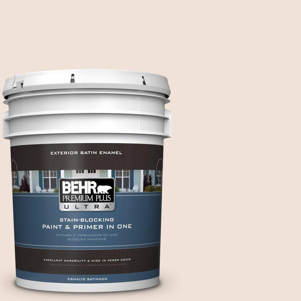 BEHR Premium Plus Ultra 5-gal. #ECC-55-2 Adobe White Satin Enamel Exterior Paint