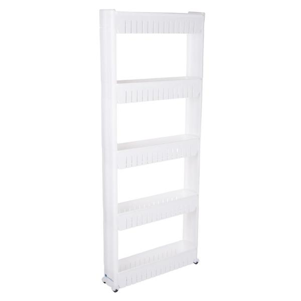 Lavish Home 5-Tier Slim Slide Out Storage Tower with Wheels