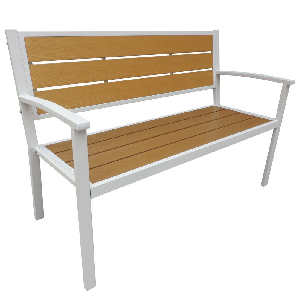 White Frame Wood Finish Patio Bench